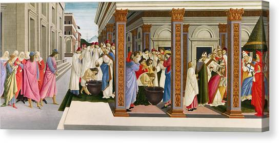 Botticelli Canvas Print - Four Scenes From The Early Life Of Saint Zenobius by Sandro Botticelli