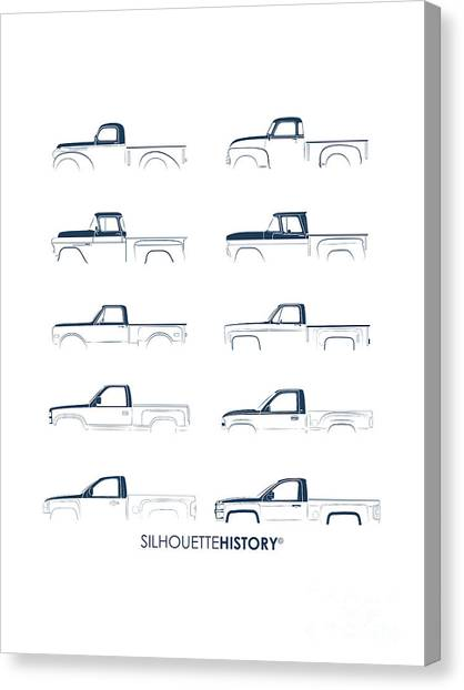 Fullsize Pickup Silhouettehistory Canvas Print by Balazs Iker