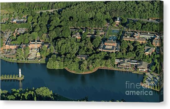 Sigma Chi Canvas Print - Furman University Campus Aerial by David Oppenheimer