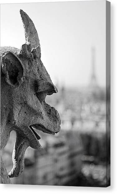Gargoyle Guarding The Notre Dame Basilica In Paris Canvas Print