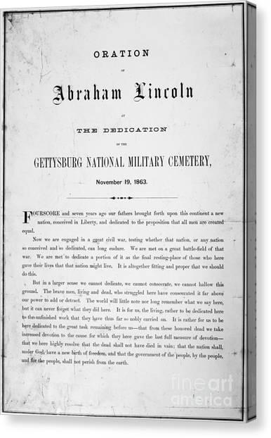 American Presidents Canvas Print - Gettysburg Address, 1863 by Granger