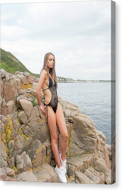 Girl In Black Swimsuit Canvas Print