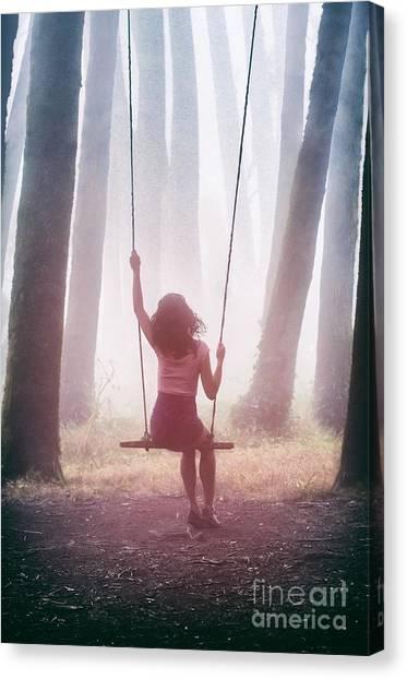 Balancing Canvas Print - Girl In Swing by Carlos Caetano