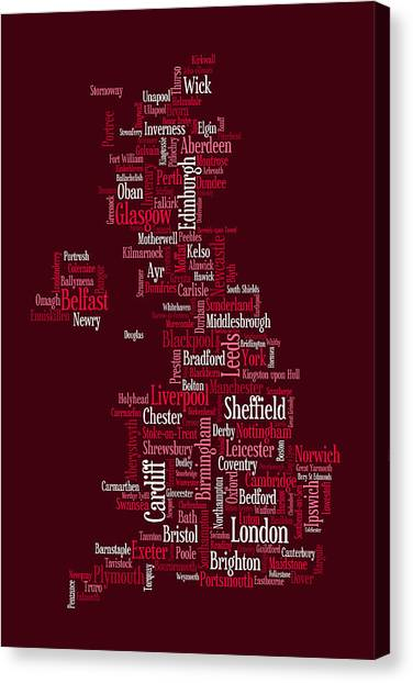 British Canvas Print - Great Britain Uk City Text Map by Michael Tompsett