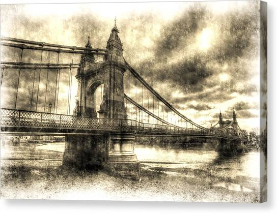 Hammersmith Bridge London Vintage Canvas Print