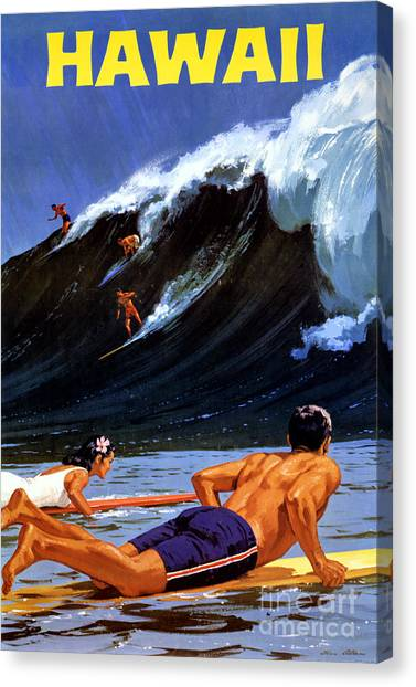 Hawaii Vintage Travel Poster Restored Canvas Print