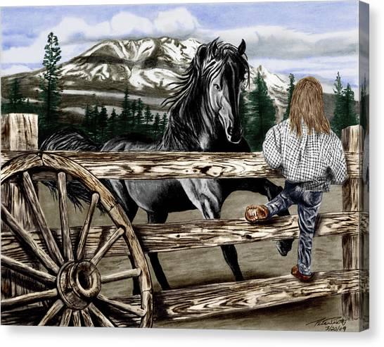 Black Stallion Canvas Print - Hello Girl by Peter Piatt