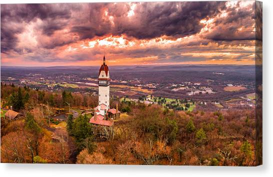 Heublein Tower, Simsbury Connecticut, Cloudy Sunset Canvas Print