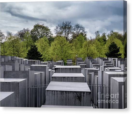Holocaust Museum Canvas Print - Holocaust Memorial In Berlin, Germany by Frank Bach