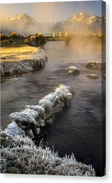 Hot Creek In Winter Canvas Print