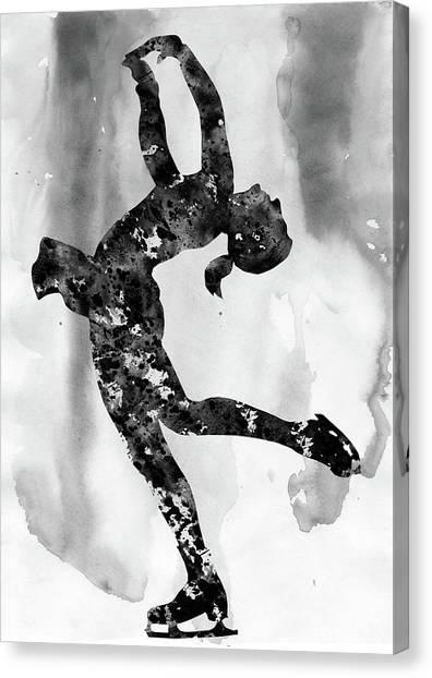 Figure Skating Canvas Print - Ice Skating Girl-black by Erzebet S