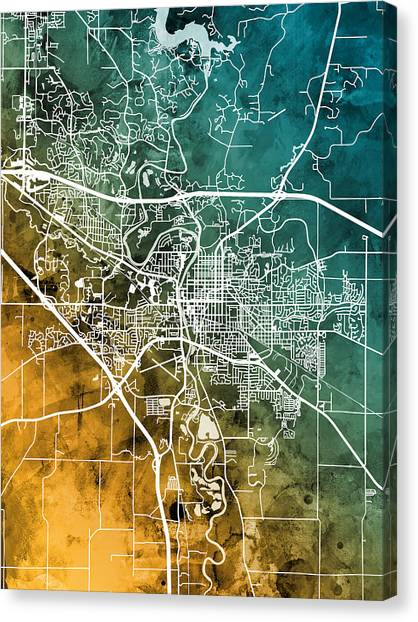 Iowa Canvas Print - Iowa City Map by Michael Tompsett