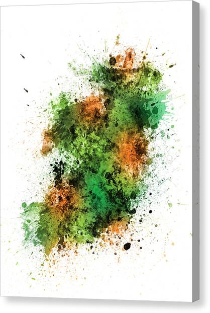 Ireland Canvas Print - Ireland Map Paint Splashes by Michael Tompsett
