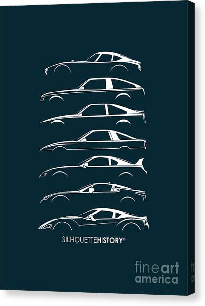 Toyota Canvas Print - Japanese Sports Car Silhouettehistory by Gabor Vida