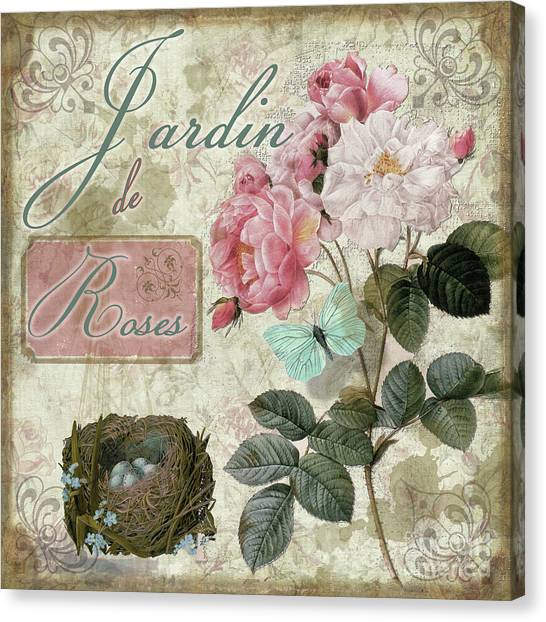 Cottage Style Canvas Print - Jardin De Roses by Mindy Sommers
