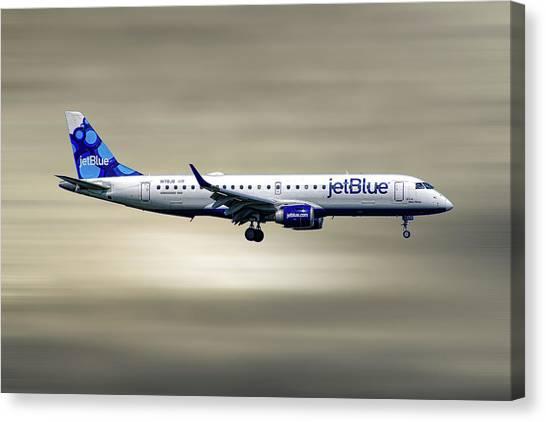 Jetblue Canvas Print - Jetblue Airways Embraer Erj-190ar by Smart Aviation