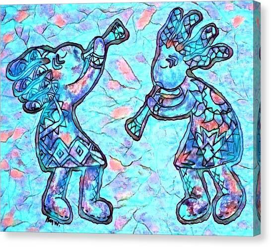 2 Kokopellis In Turquoise Canvas Print