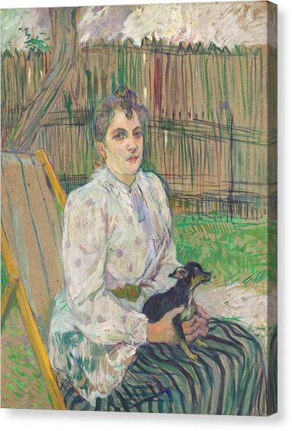 Adele Canvas Print - Lady With A Dog by Henri de Toulouse-Lautrec