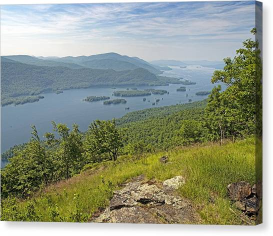 Lake George From The Tongue Mountain Range New York  Canvas Print by Brendan Reals