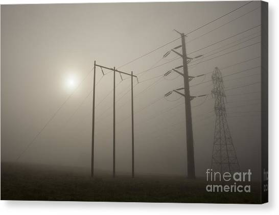 Large Transmission Towers In Fog Canvas Print