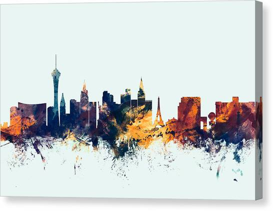 Nevada Canvas Print - Las Vegas Nevada Skyline by Michael Tompsett