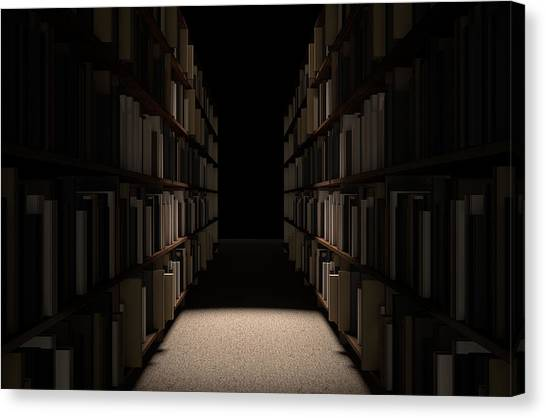 Reference Canvas Print - Library Bookshelf Aisle by Allan Swart