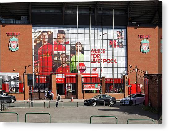 British Premier League Canvas Print - Liverpool Uk, 17th September 2016. Liverpool Football Club's New Giant Mural For The 2016/17 Season At The Kop End Of The Stadium by Ken Biggs