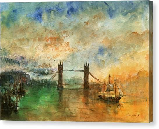 Big Ben Canvas Print - London Watercolor Painting by Juan  Bosco