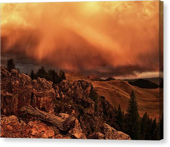 Eye-catching Canvas Print - Lost River Sunset by Leland D Howard