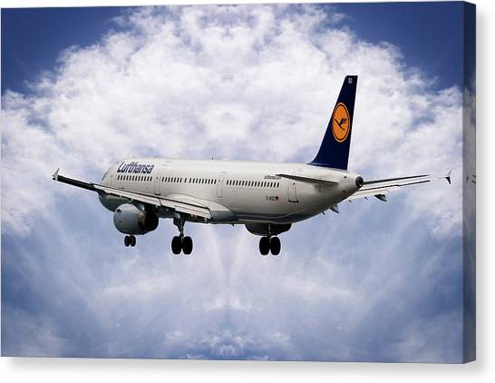 Airlines Canvas Print - Lufthansa Airbus A321-231 by Smart Aviation