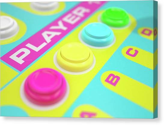 Gaming Consoles Canvas Print - Luminous Arcade Control Panel  by Allan Swart