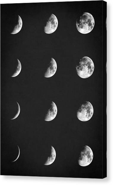 Waxing Gibbous Canvas Print - Lunar Phases  by Taylan Apukovska