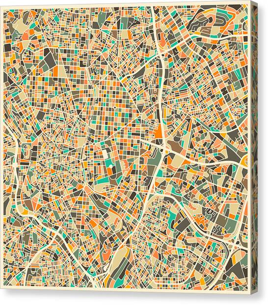 Spain Canvas Print - Madrid Map by Jazzberry Blue