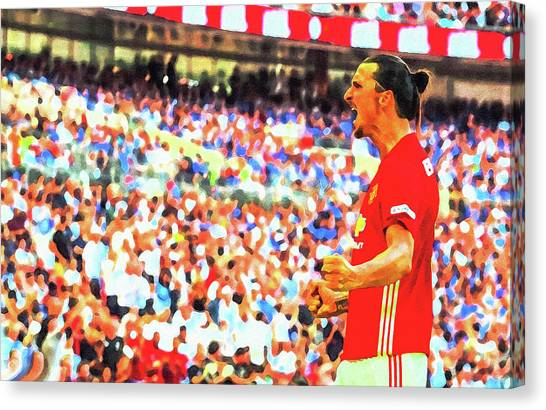 Wayne Rooney Canvas Print - Manchester United's Zlatan Ibrahimovic Celebrates by Don Kuing