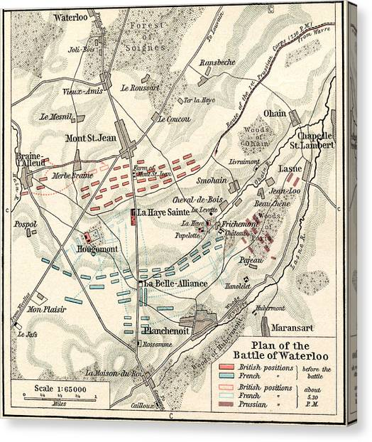 Old Canvas Print - Map Of The Battle Of Waterloo by English School