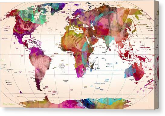 Dinosaur Map Canvas Print - Map Of The World   by Mark Ashkenazi