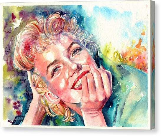 Fauvism Canvas Print - Marilyn Monroe Portrait by Suzann's Art