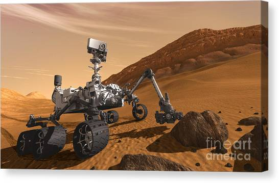 Computer Science Canvas Print - Mars Rover Curiosity, Artists Rendering by NASA Science Source