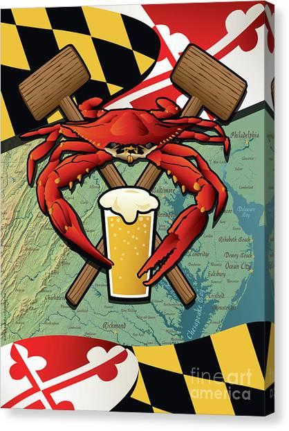 Craft Beer Canvas Print - Maryland Crab Feast Crest by Joe Barsin