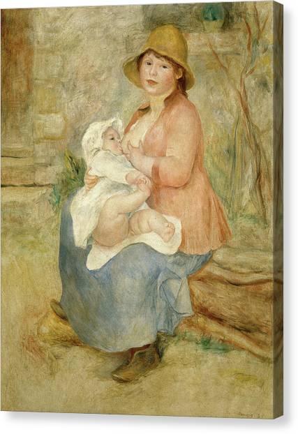 Pierre-auguste Renoir Canvas Print - Maternity by Pierre-Auguste Renoir