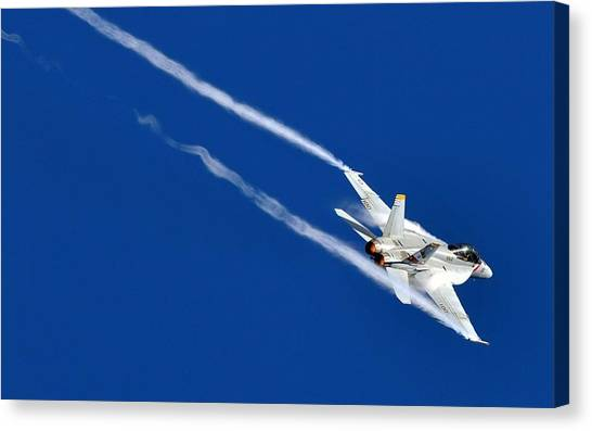 Satellite Canvas Print - Mcdonnell Douglas F/a-18 Hornet by Mariel Mcmeeking