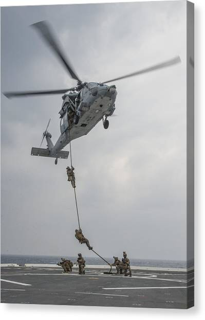 Mh-60s Sea Hawk Helicopter Us Navy Canvas Print