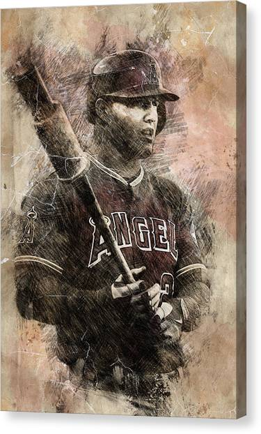 Los Angeles Angels Canvas Print - Michael Trout by Anna J Davis