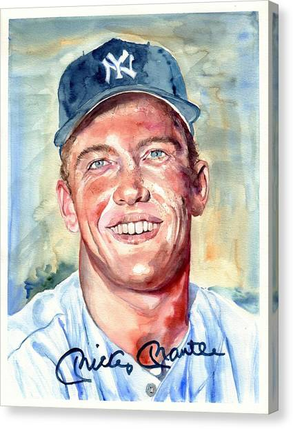 Athlete Canvas Print - Mickey Mantle Portrait by Suzann's Art