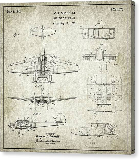 Airplane blueprint canvas prints page 9 of 19 fine art america airplane blueprint canvas print military airplane patent drawing for the 1939 v j burnelli military malvernweather Images