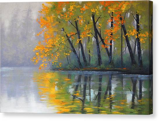 Brook Canvas Print - Misty Lake by Graham Gercken