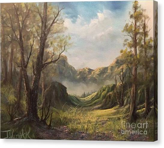 Misty Valley Canvas Print by Paintings by Justin Wozniak