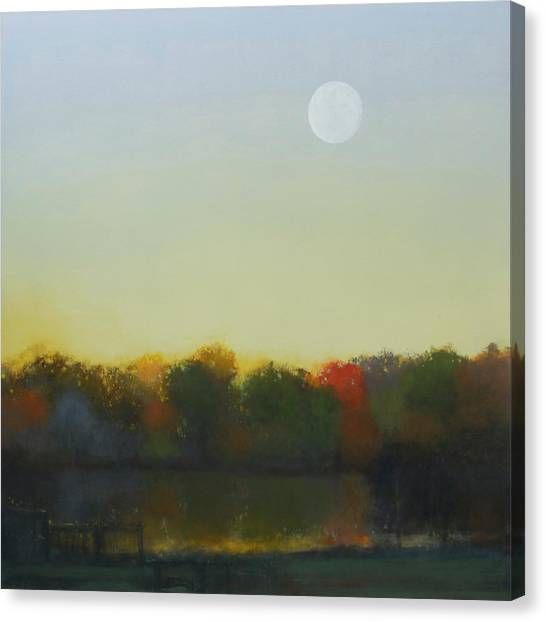 Moonrise-footbridge At White Rock Canvas Print