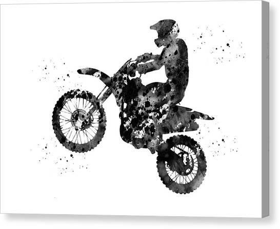 Dirt Bikes Canvas Print - Motocross Dirt Bike by Erzebet S