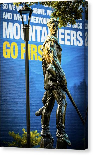 West Virginia University Wvu Canvas Print - Mountaineers Go First by Aaron Geraud